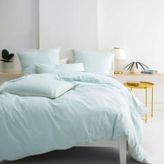 Linen House Cora 144 Thread Count Duvet Cover Set, Aqua