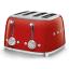 Smeg Retro 2000W 4 Slice Square Toaster, Red