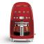 Smeg Retro Drip Filter Coffee Machine, red, front view