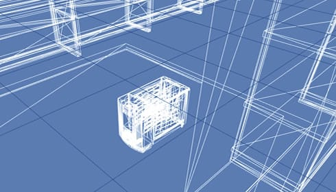 A screenshot of the wireframe 3D model of a Yuppiechef Store