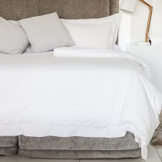 Linen House Oxford Cotton White Duvet Cover, 250 Thread Count