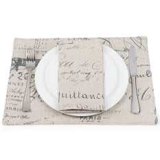 DSA Table Linen Specialists French Script Placemats, Set of 6