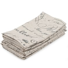 DSA Table Linen Specialists French Script Napkins, Set of 6
