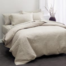 Linen House Chantel Moonbeam Embroidered Cotton Quilt