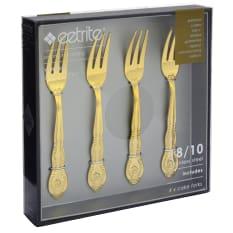 Eetrite Windsor 4 Piece Gold Cake Fork Set