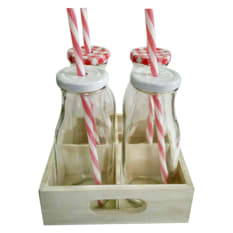 Regent Milk Bottles & Wooden Tray Set