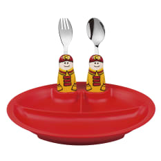 Eat4Fun Fireman Kids Cutlery and Dish Kit, Set of 3