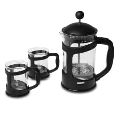 Bialetti 800ml Coffee Press & Mugs, Set of 3