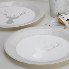 Ginger Ray Christmas Metallic Foiled Stag Design Plates, Pack of 8