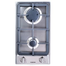 Faber Built-In Domino 2 Burner Gas Hob with Cast Iron Burners, 30cm
