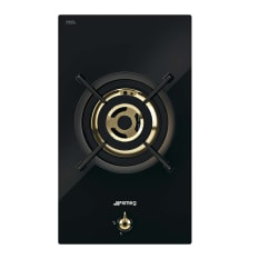 Smeg Built-In Domino Single Gas Burner on Black Glass Hob, 30cm