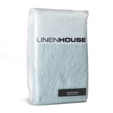 Linen House Chantel Standard Duck Egg Embroidered Cotton Pillowcase Sham