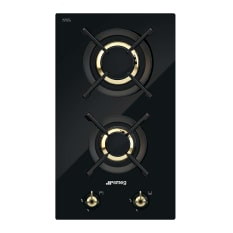 Smeg Built-In Domino 2 Gas Burner on Black Glass Hob, 30cm