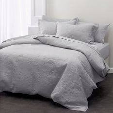 Linen House Chantel Grey Embroidered Cotton Quilt