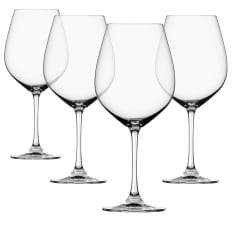 Spiegelau Lead-Free Crystal Salute Burgundy Red Wine Glasses, Set of 4
