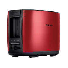 Philips 2 Slice Brushed Metal Red Toaster