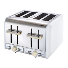 Russell Hobbs White and Wood 4 Slice Toaster