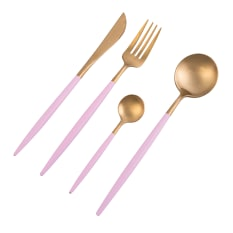 Nicolson Russell Dubai Gold & Pink 16 Piece Cutlery Set