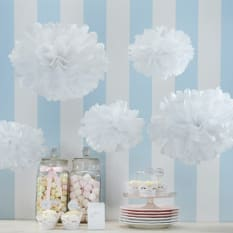 Ginger Ray Vintage Lace Tissue Paper Pom Poms, Pack of 5
