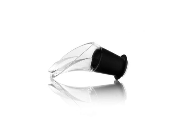 Vacu Vin Crystal Drip-Free Wine Pourer, Set of 2, Black