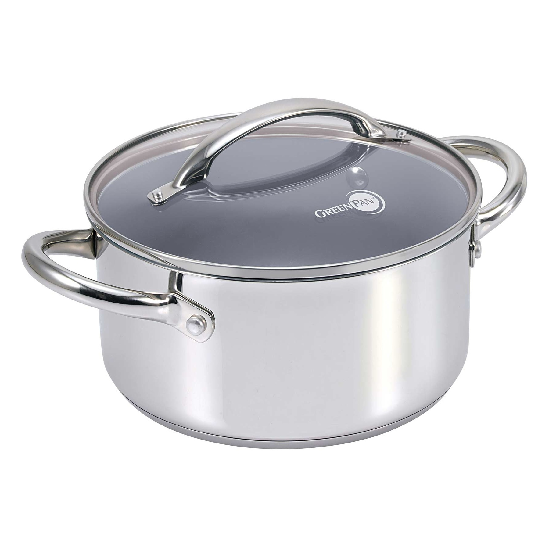 green pan miami stainless steel nonstick casserole with lid 24cm
