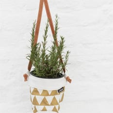 Zana Hanging Screen Printed Cotton Soft Pot with Leather Strap