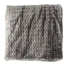 Linen House Herringbone Pattern Faux Fur Throw