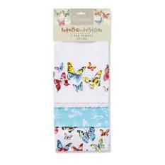 Cooksmart Butterflies Tea Towel, Set of 3