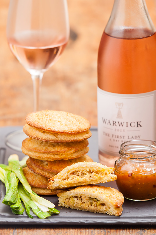 Smoked snoek toasties and apricot chutney paired with Warwick Rosé