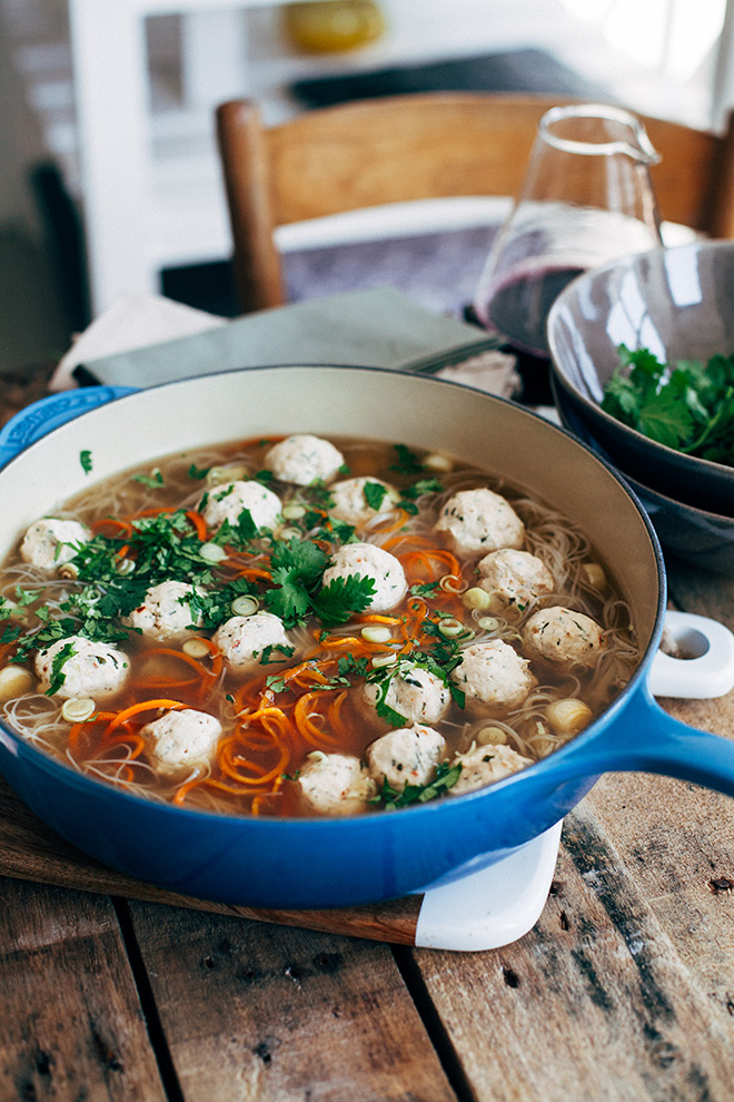 Homestyle-chicken-dumpling-soup-with-coriander,-chicken-and-lemongrass-dumplings-home