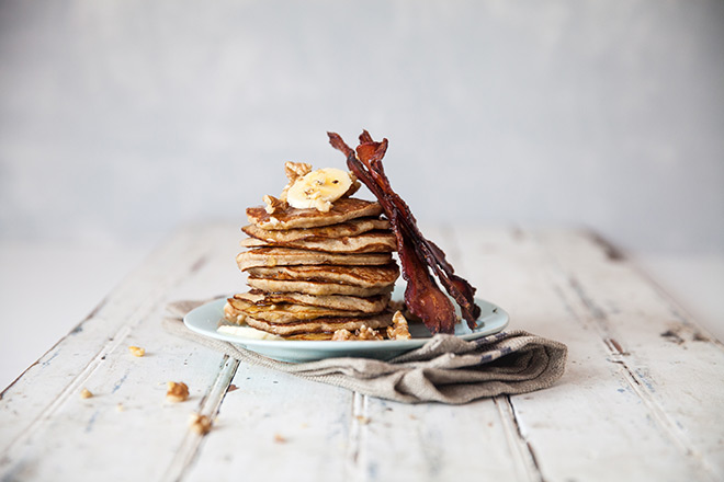 Grain-free banana flapjacks with honey glazed bacon and walnuts