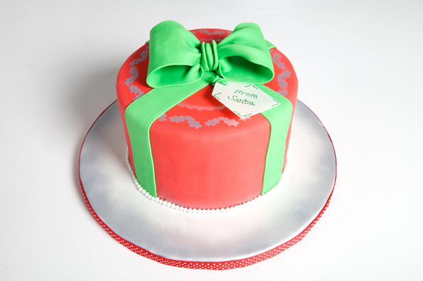 Festive Christmas Cake Decorated In Fondant