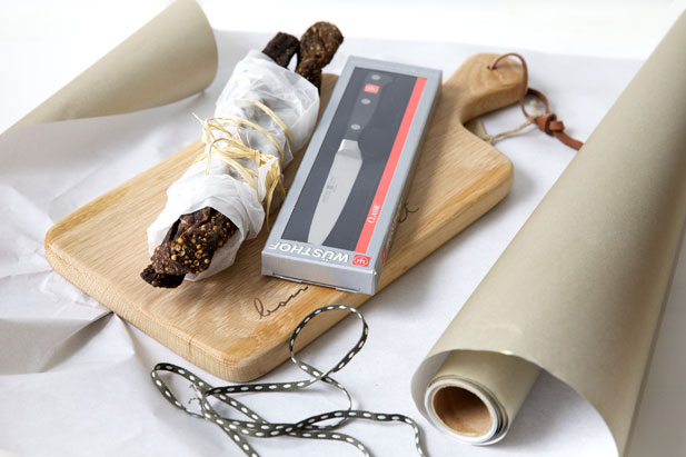 Biltong, knife and board
