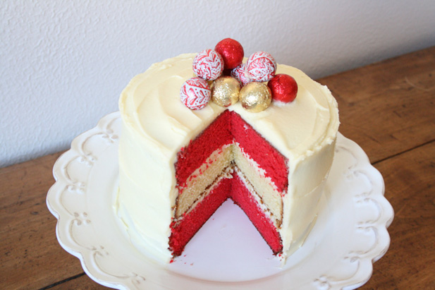 Red and white Christmas cake