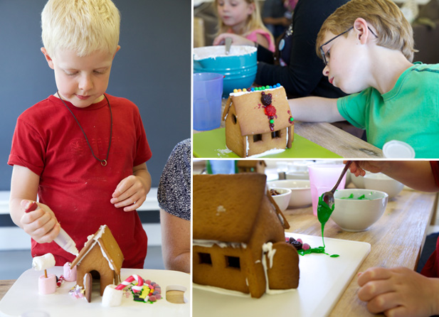 Gluing and decorating gingerbread houses