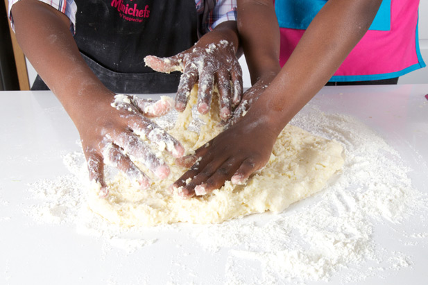 kneading dough with your kids