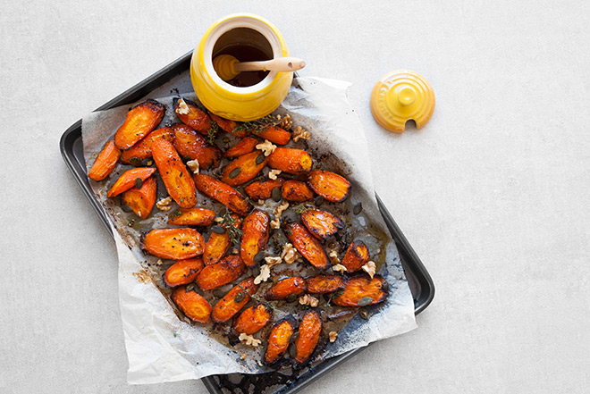 Dressed up honey and thyme roasted carrots