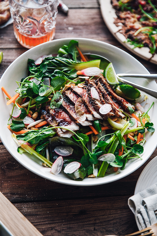 A light and summery beef teriyaki salad
