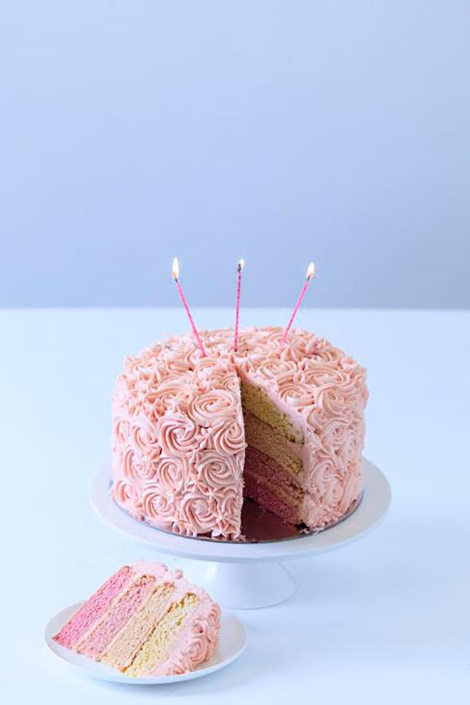 A Pretty In Pink Ombre Rosette Cake