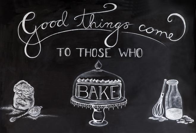 Kitchen chalkboard: spring baking