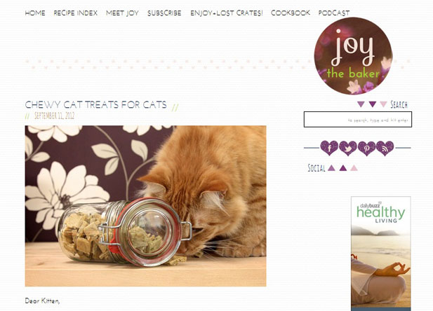 The home page image for Joy the baker's food blog