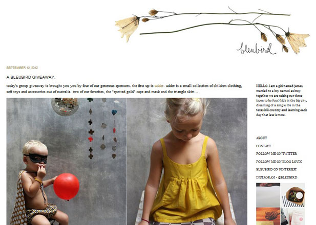 The home page of Bleubird Vintage's food blog