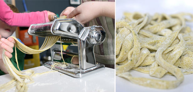 Minichefs making homemade pasta