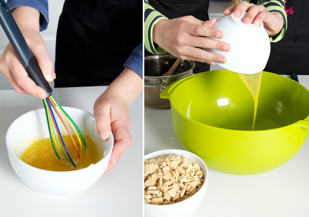 Adding eggs to date ball ingredients