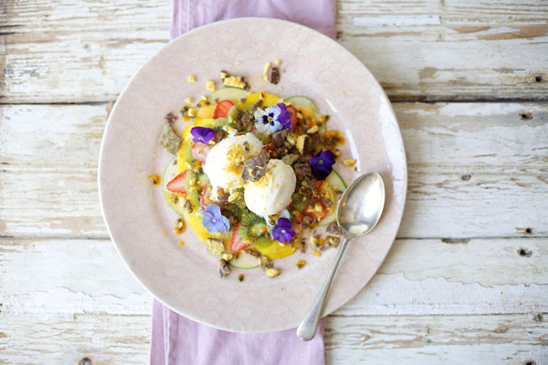 FInal fruit salad with ice cream and honey comb crumble