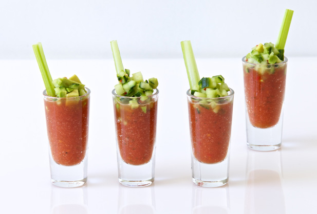 Gazpacho shot glasses topped with avo and cucumber salsa for Canape ingredients