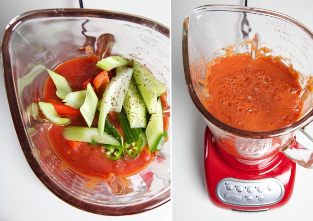 Gazpacho ingredients in a blender