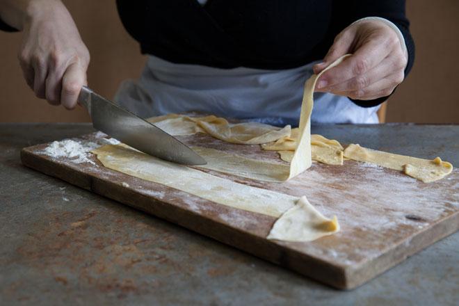 making prapadelle for bolognese