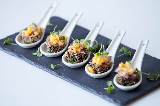 Seared sesame tuna on cucumber topped with mango and for Canape menu ideas
