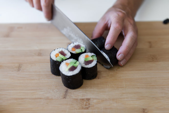 Slicing the sushi
